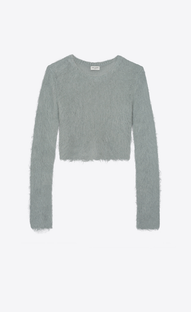 SAINT LAURENT Knitwear Tops Woman Cropped sweater in vintage blue mohair a_V4