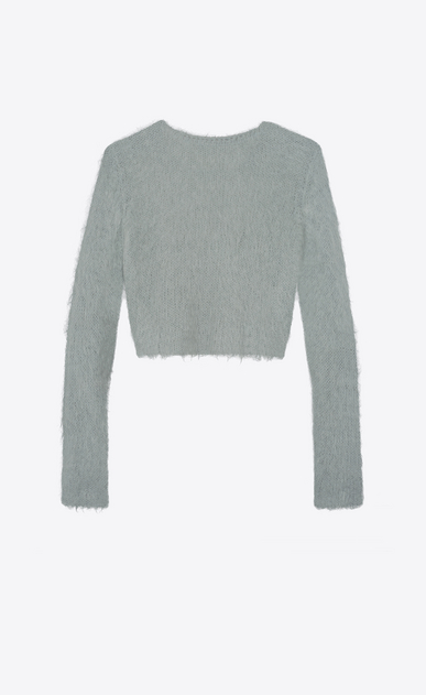 SAINT LAURENT Knitwear Tops Woman Cropped sweater in vintage blue mohair b_V4