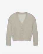 SAINT LAURENT Knitwear Tops D Varsity cardigan in mist mohair f