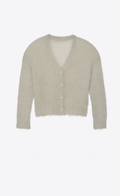 SAINT LAURENT Knitwear Tops Woman Varsity cardigan in mist mohair a_V4