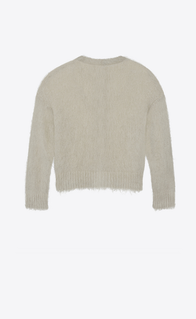 SAINT LAURENT Knitwear Tops Woman Varsity cardigan in mist mohair b_V4