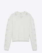 SAINT LAURENT Sportswear Tops D Embroidered and crocheted boxy sweatshirt in off-white fleece f