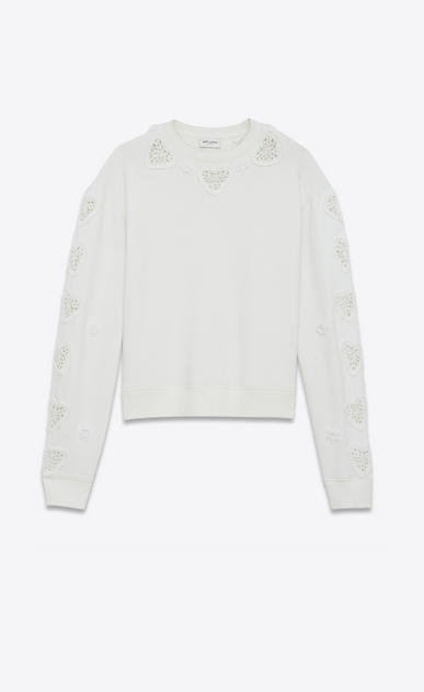 SAINT LAURENT Sportswear Tops Damen Boxy-Sweatshirt aus gebrochen weißem Fleece mit Stickerei und Häkelei a_V4