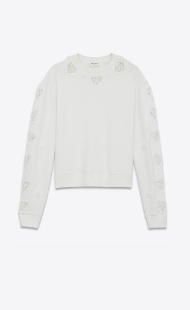 SAINT LAURENT Tops sportswear Femme Sweat boxy brodé crochet en molleton blanc cassé a_V4