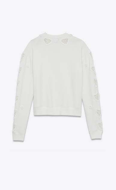 SAINT LAURENT Sportswear Tops Woman Embroidered and crocheted boxy sweatshirt in off-white fleece b_V4