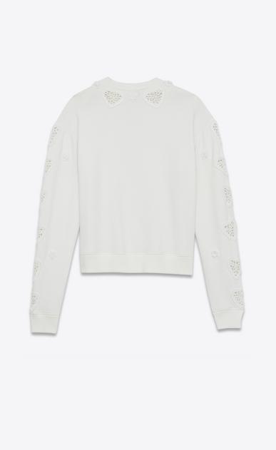 SAINT LAURENT Sportswear Tops Damen Boxy-Sweatshirt aus gebrochen weißem Fleece mit Stickerei und Häkelei b_V4