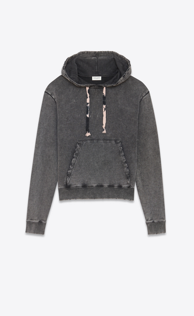 SAINT LAURENT Sportswear Tops Woman Hoodie in faded-look black fleece with tie-dye drawstring a_V4