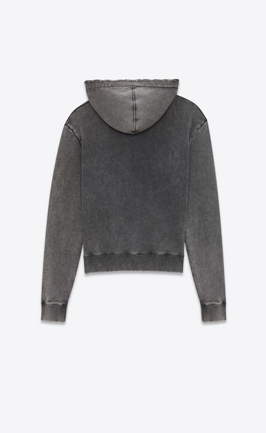 SAINT LAURENT Sportswear Tops Woman Hoodie in faded-look black fleece with tie-dye drawstring b_V4