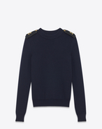 SAINT LAURENT Knitwear Tops D Officer sweater in navy blue wool f