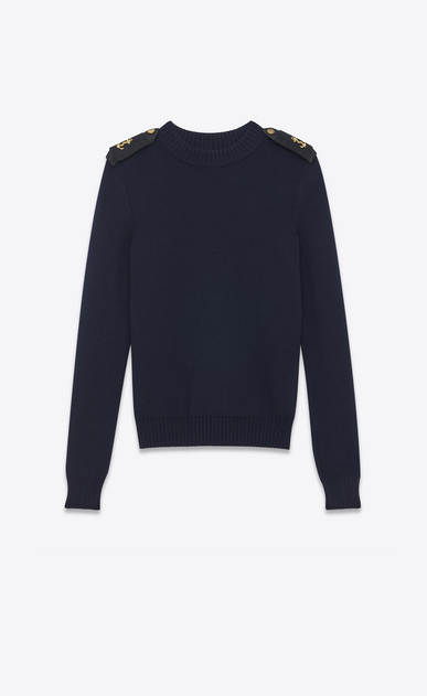 SAINT LAURENT Knitwear Tops D Officer sweater in navy blue wool a_V4