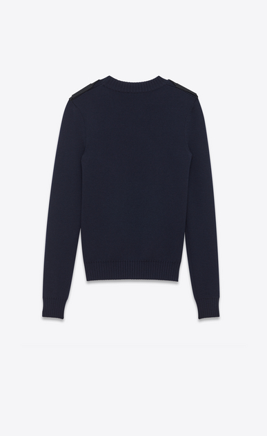 SAINT LAURENT Knitwear Tops Woman Officer sweater in navy blue wool b_V4