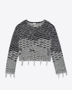 SAINT LAURENT Knitwear Tops D Cropped sweater in black and off-white Berber jacquard f