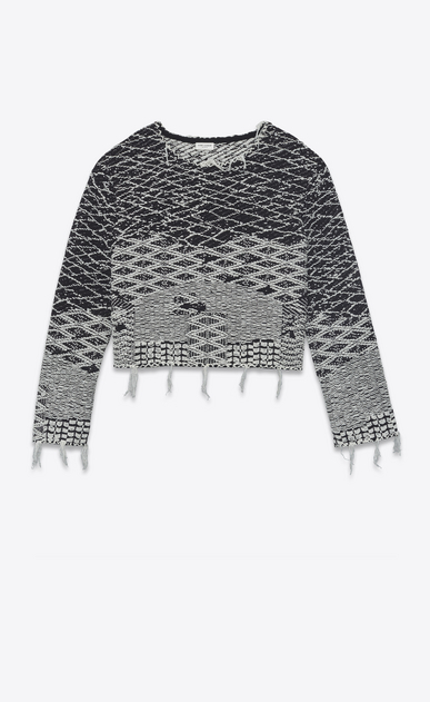 SAINT LAURENT Knitwear Tops Woman Cropped sweater in black and off-white Berber jacquard a_V4
