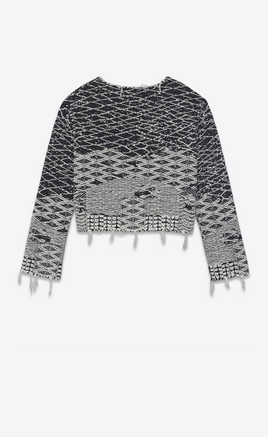 SAINT LAURENT Knitwear Tops Woman Cropped sweater in black and off-white Berber jacquard b_V4