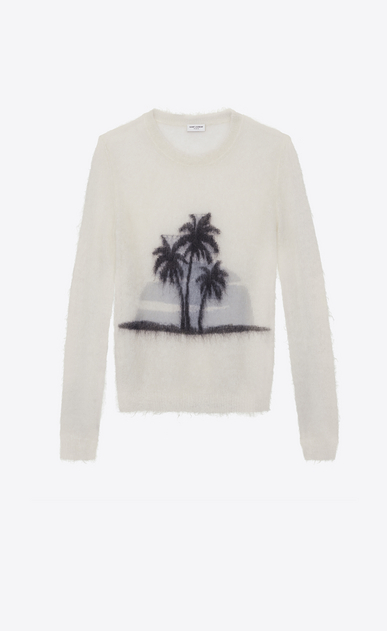SAINT LAURENT Knitwear Tops Woman SUNSET sweater in off-white mohair a_V4