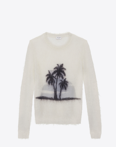 Palm Tree Mohair Blend Knit Sweater In Cream, Off White