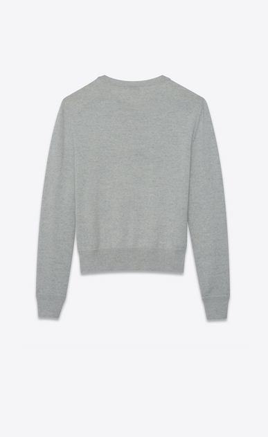 SAINT LAURENT Knitwear Tops Woman boxy sweater embroidered with heaven in a mottled gray knit b_V4