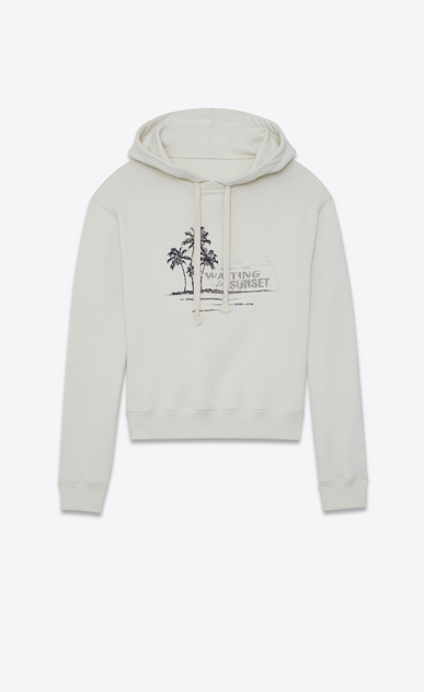 SAINT LAURENT Sportswear Tops Damen Kapuzenpullover aus gebrochen weißem Fleece mit Stickerei und WAITING FOR SUNSET-Print a_V4
