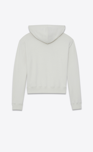 SAINT LAURENT Sportswear Tops Damen Kapuzenpullover aus gebrochen weißem Fleece mit Stickerei und WAITING FOR SUNSET-Print b_V4
