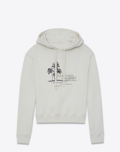 Embroidered Hoodie With Waiting For Sunset Print In Off-White Fleece, Off White