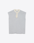SAINT LAURENT Sportswear Tops D Sleeveless sweatshirt in mottled gray fleece f