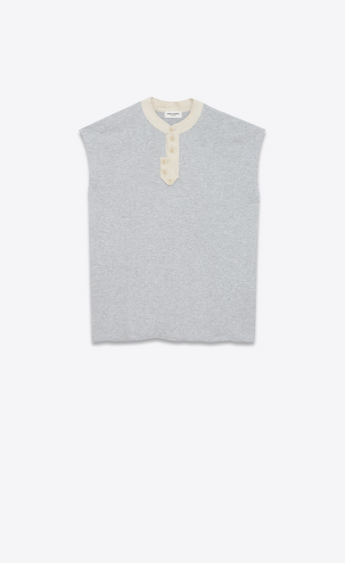 SAINT LAURENT Sportswear Tops Woman Sleeveless sweatshirt in mottled gray fleece a_V4
