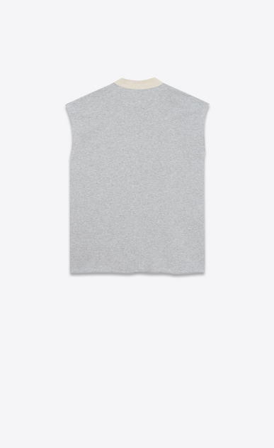 SAINT LAURENT Sportswear Tops Woman Sleeveless sweatshirt in mottled gray fleece b_V4