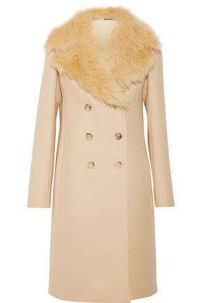 THE ROW Roza shearling-trimmed double-breasted wool-twill coat