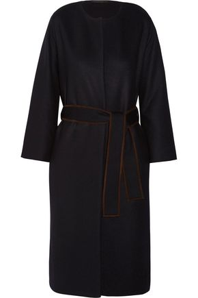 THE ROW Duna belted suede-trimmed felted wool-blend coat
