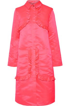 PASKAL Ruffle-trimmed satin coat