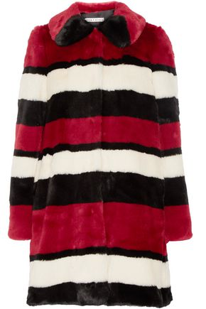 ALICE + OLIVIA Kinsley oversized striped faux fur coat