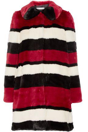 ALICE + OLIVIA Striped faux fur coat