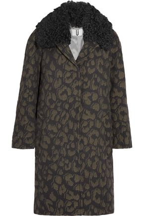 TOPSHOP UNIQUE Sidgwick shearling-trimmed cloqué coat