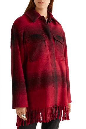 T by ALEXANDER WANG Fringed checked flannel coat