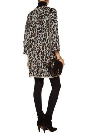 JOIE Berit leopard jacquard-knit wool-blend cardigan