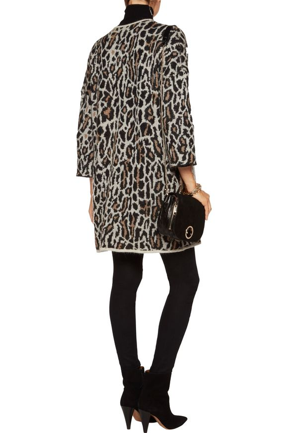 Berit leopard jacquard-knit wool-blend cardigan | JOIE | Sale up to 70% off  | THE OUTNET