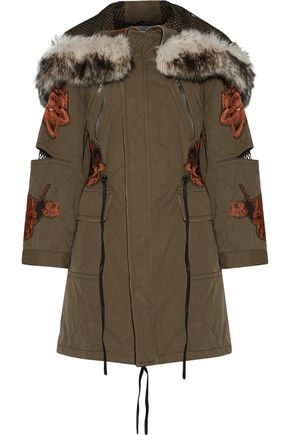 3.1 PHILLIP LIM Faux fur-trimmed hooded embroidered cotton-twill coat