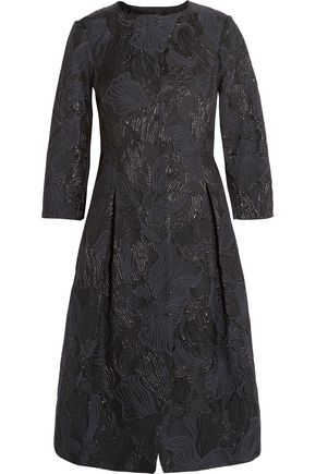 OSCAR DE LA RENTA Floral-embroidered crepe coat