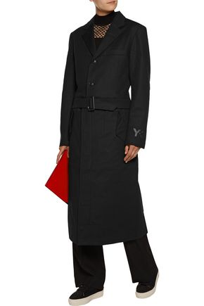 Y-3 Y-3 adidas Originals belted cotton-blend coat