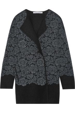 DIANE VON FURSTENBERG Jeraldine lace-paneled merino wool coat