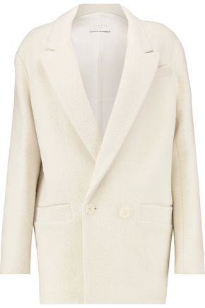 SANDRO Paris Felted cotton and wool-blend coat