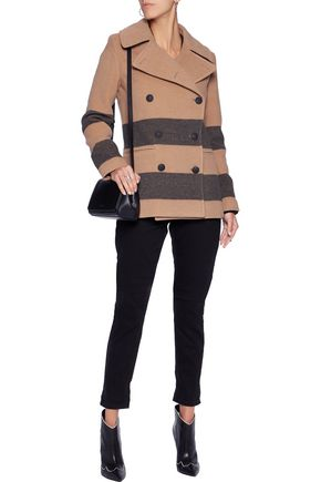 RAG & BONE Skye striped wool-blend felt coat