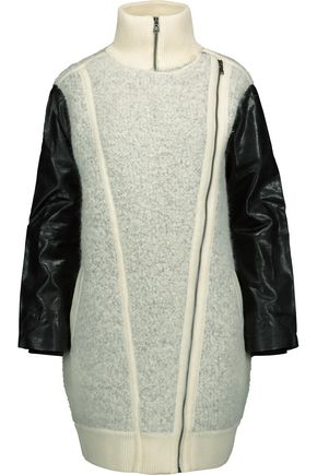 MARC BY MARC JACOBS Nessi leather and ribbed knit-trimmed wool-blend bouclé coat