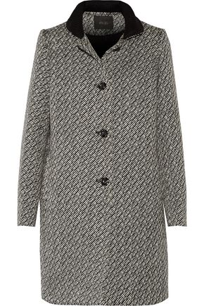 MAJE Knit-trimmed bouclé coat