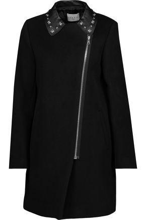 SANDRO Studded leather-trimmed wool-blend coat
