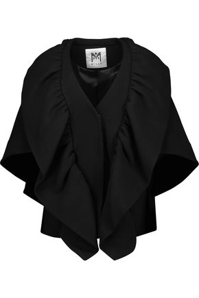 MILLY Ruffled layered wool-blend cape