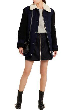 CARVEN Faux shearling-trimmed wool-blend felt coat