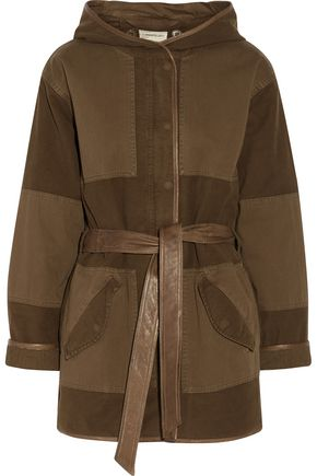 CURRENT/ELLIOTT The Battlefield leather-trimmed cotton-blend canvas hooded coat