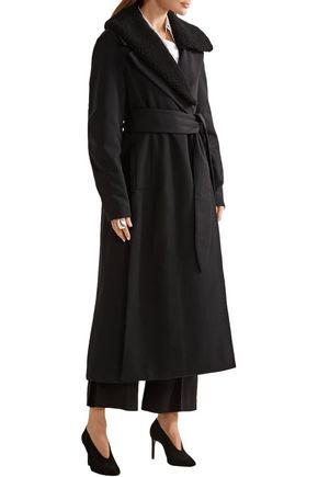 LEMAIRE Faux shearling-trimmed wool-gabardine coat