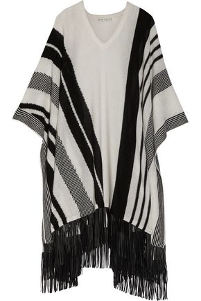 ALICE + OLIVIA Jancis striped fringed wool-blend cape